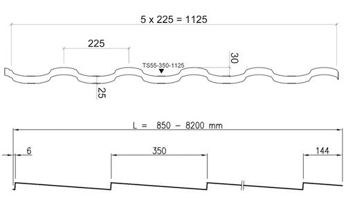 Размеры RUUKKI ADAMANTE 30/PEMA Металлочерепица