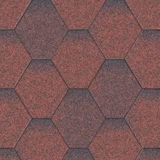 Битумная черепица Акваизол Мозаика Красная микс
