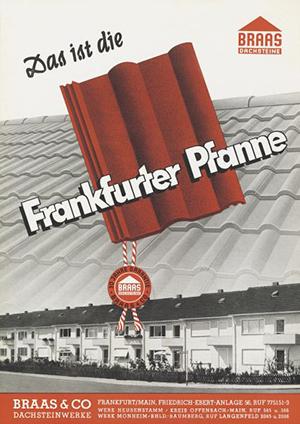 рекламный плакат цементно песчаной черепицы Braas - 50-е годы