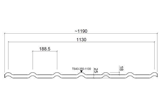 Размеры Rantech DG 43/PE Металлочерепица