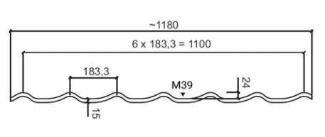Размеры Rantech M 39/PE Металлочерепица