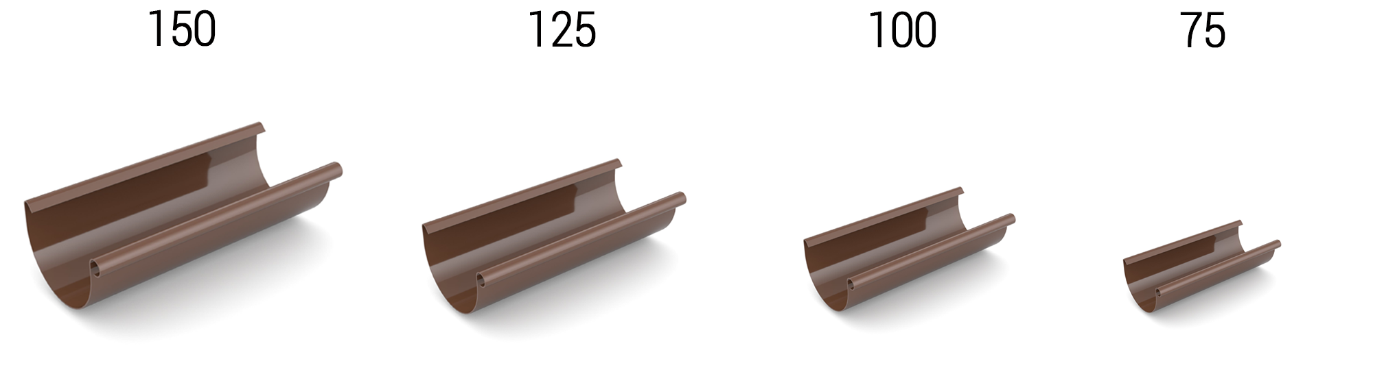Размеры водосточной системы Bryza. Системы 125 мм, 150 мм, 100 мм, 75 мм