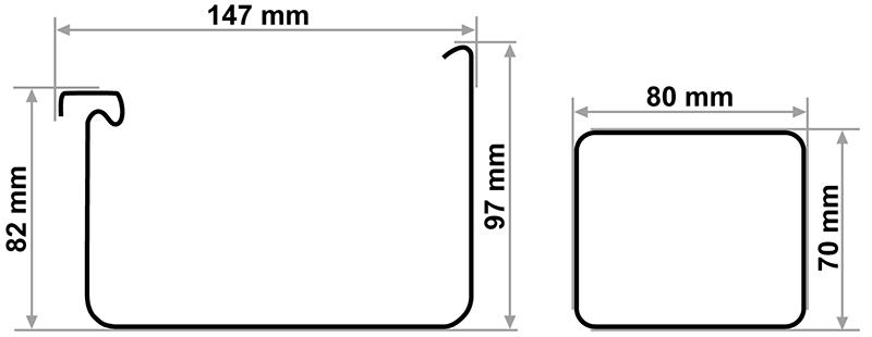 Размеры желобов и труб в водосточной системе Galeco