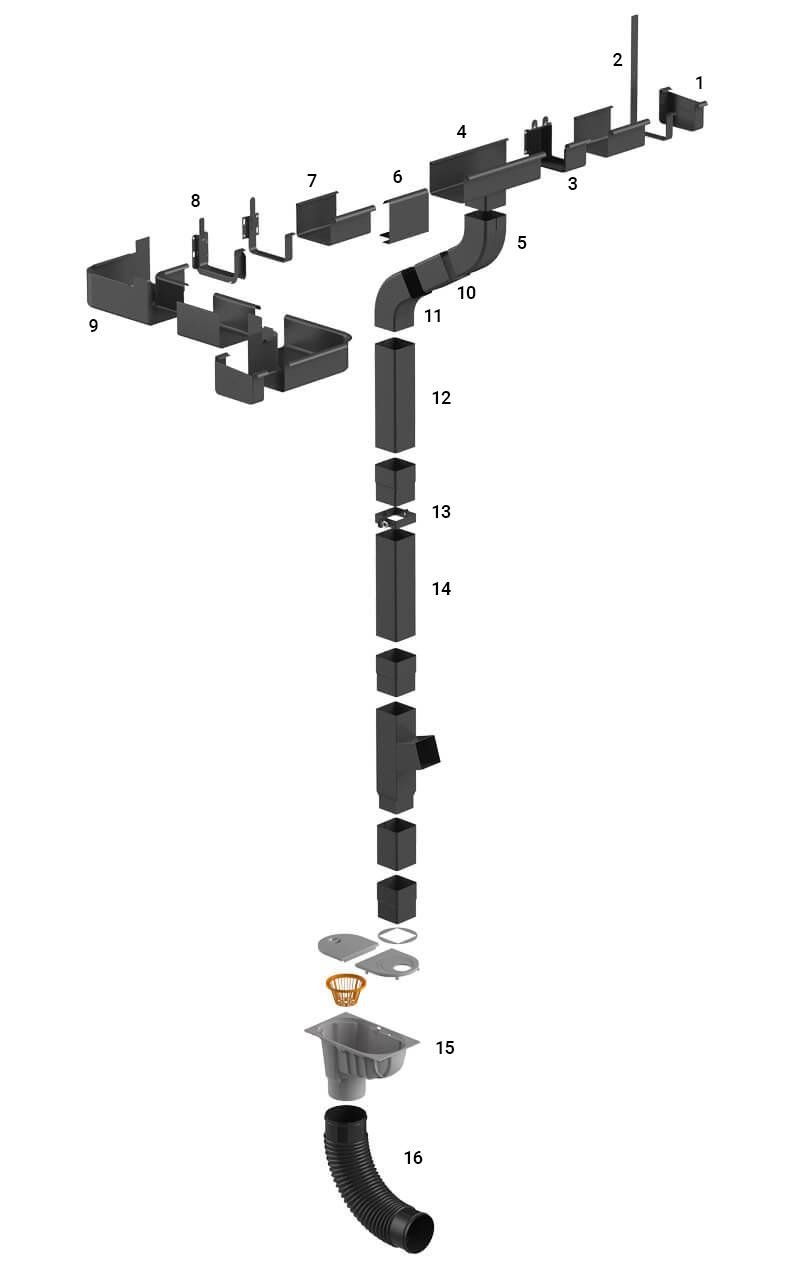 Схема водосточной системы Galeco Stal 2