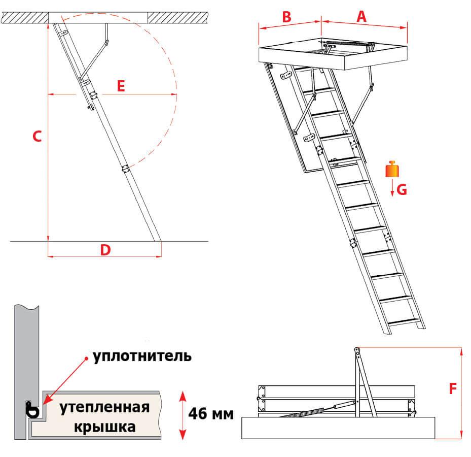 Схема лестницы Aluprofi Extra