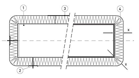 Воздуховод с огнезащитным покрытием WIRED MAT в разрезе