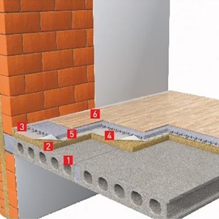 Звукоізоляція перекриття з цементно-піщаної армованої стяжки