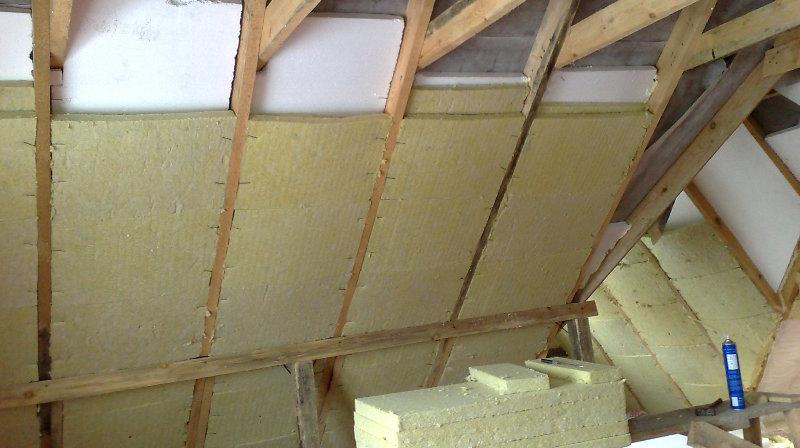 монтаж утеплителя на крышу изнутри